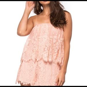 Lovers + Friends Pink Lace Romper